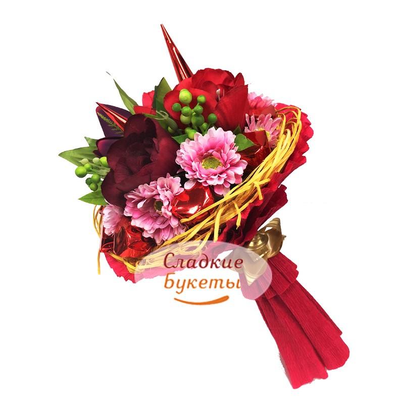 b258e8d6c34f5 Ручной букет из цветов и конфет Весенний презент 2